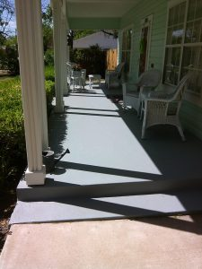 Freshly painted porch exterior